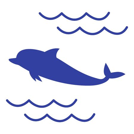 dolphin silhouette: Stylized icon of a colored dolphin on a white background Illustration
