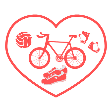 Stylized icon symbolizing love for sport: inside the heart of the bike, gloves, volleyball and sneakers on a white background