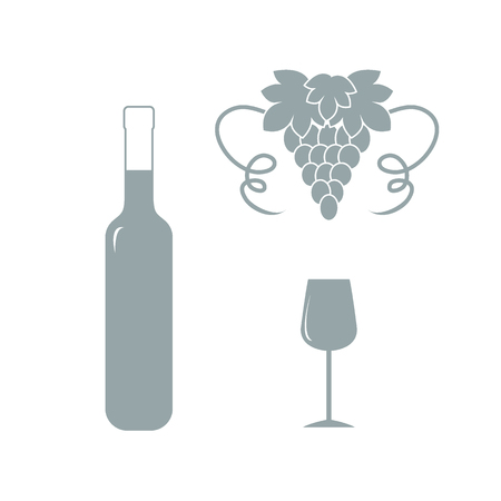 colored bottle: Stylized icon of a colored bottle of wine, wine glass and grapes on a white background Illustration