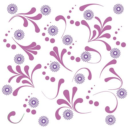 contours: Cute pattern with various naive plants and contours of flowers on a white background