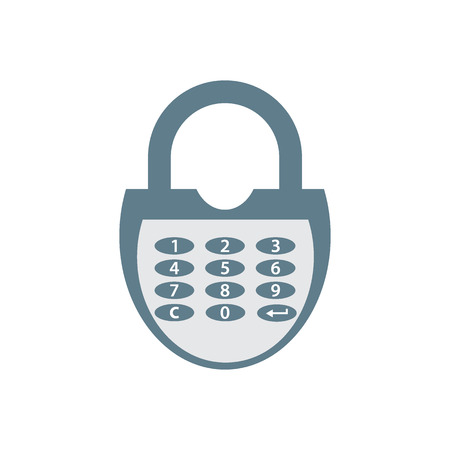 secret number: Stylized icon of a colored combination lock on a white background
