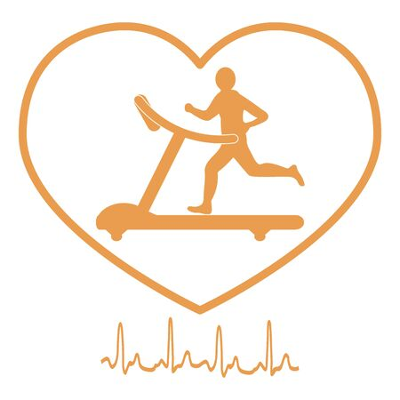 Stylized icon of the man jogging on a treadmill within the heart icon and heart rhythm on a white background Illustration