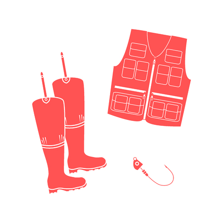 Stylized icon set of a colored vest, boots and hook on a white background Illustration