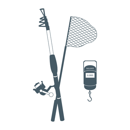 telescopic: Stylized icon set of different tools for fishing on a white background Illustration
