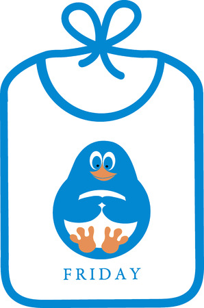 neatness: Cute icon with bib with a picture of a funny cartoon penguin on a white background Illustration