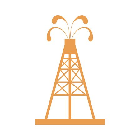 fountains: Stylized icon of the oil rig with fountains spurting up oil with oil on a white background