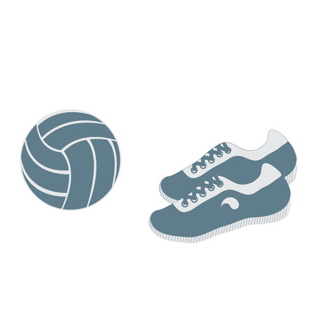 school kit: Stylized icon of a colored volleyball and sneakers on a white background