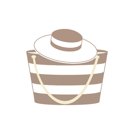brim: Nice picture with fashion summer accessories, hat and bag on a light background Illustration