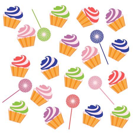 vivacity: Nice pattern with colorful cupcakes and lollipops on a white background