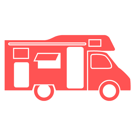Stylized icon of a colored caravan on a white background