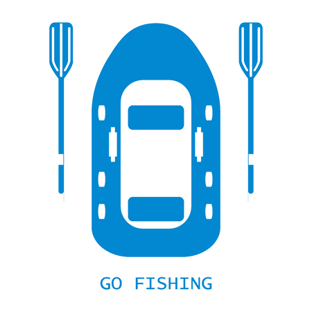 oars: Stylized icon of a colored inflatable boat with oars for fishing on a white background Illustration