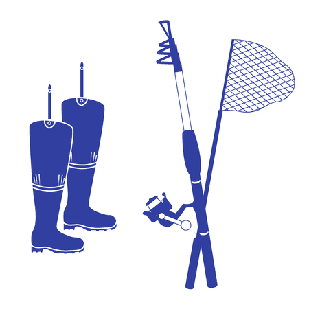 foldable: Stylized icon set of different tools for fishing on a white background Illustration