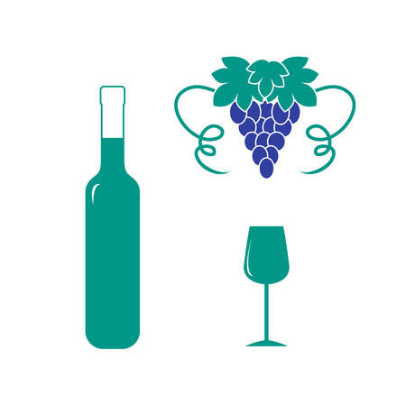 red wine pouring: Stylized icon of a colored bottle of wine, wine glass and grapes on a white background Illustration
