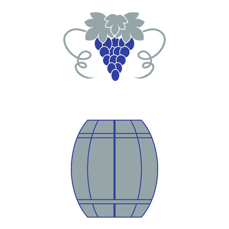 red grape: Stylized icon of a colored barrel of wine and a bunch of grapes on a white background Illustration
