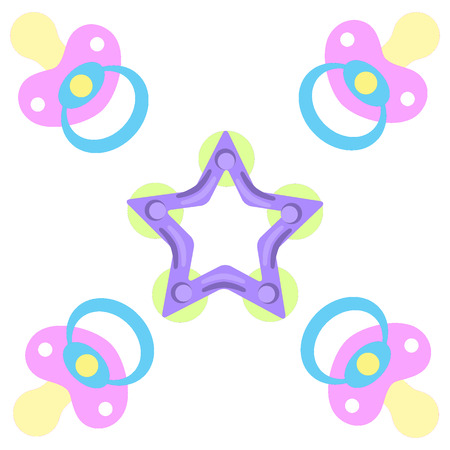 complacent: Cute picture of a baby pacifiers and teething ring on a white background