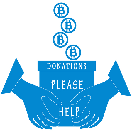 poured: Stylized icon calling to make a donation. Bitcoins are poured into a box for donations that keep both hands on a white background