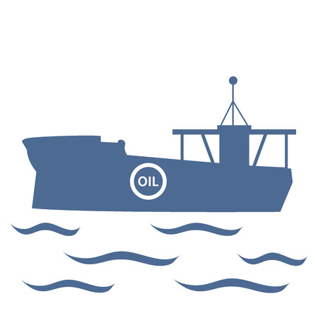 bulk carrier: Stylized icon of the tanker of oil floating on waves on a white background Illustration