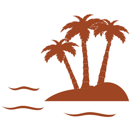 three palm trees: Stylized icon of the island with three palm trees surrounded by the sea with waves on white background