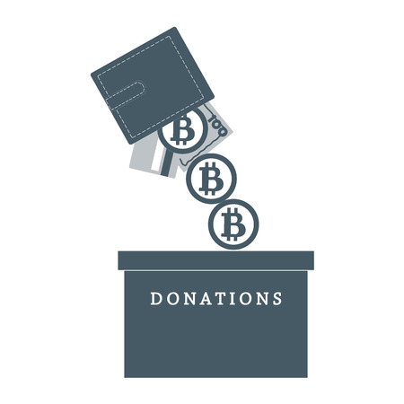 spilling: Stylized icon calling to make a donation. From wallet with the card, bill and bitcoin spilling bitcoins in the donation box on a white background