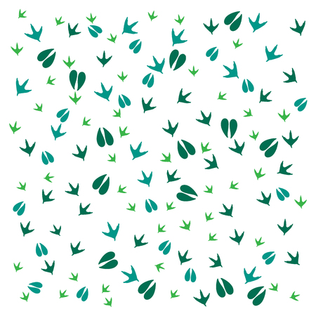 dingbats: Nice picture of  traces of birds and animals on a white background Illustration