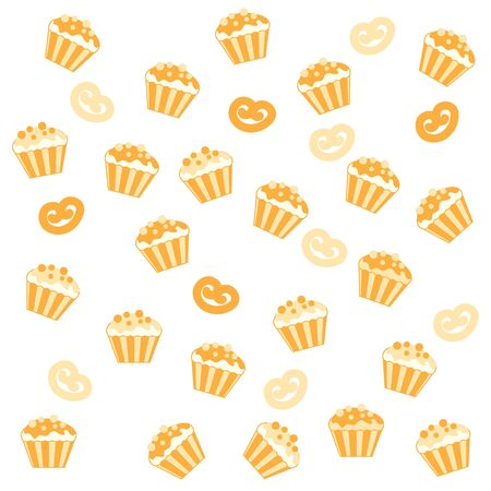 vivacity: Nice pattern with colorful cupcakes and other pastries on a white background