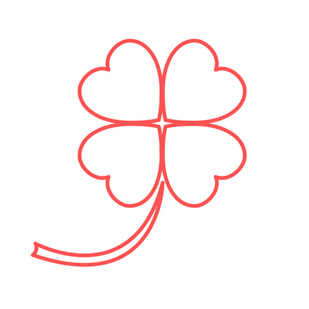 Stylized icon of a colored silhouette clover leave on a white background Illustration