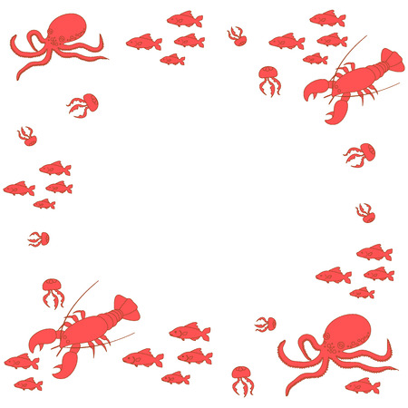 inhabitants: Interesting picture with the various inhabitants of the seas and oceans on white background