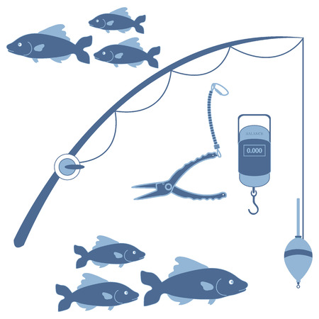 flocks: Stylized icon set of different tools for fishing and flocks of fish on a white background