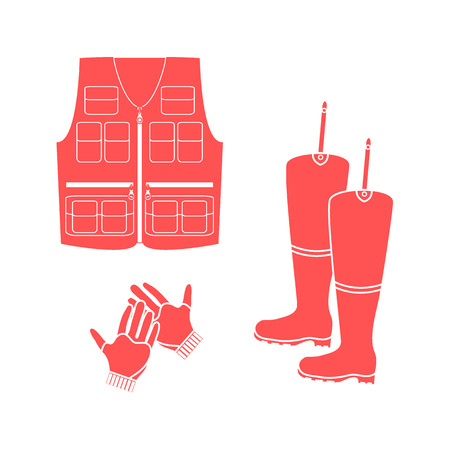 wellies: Stylized icon set of a colored vest, boots and gloves on a white background Illustration