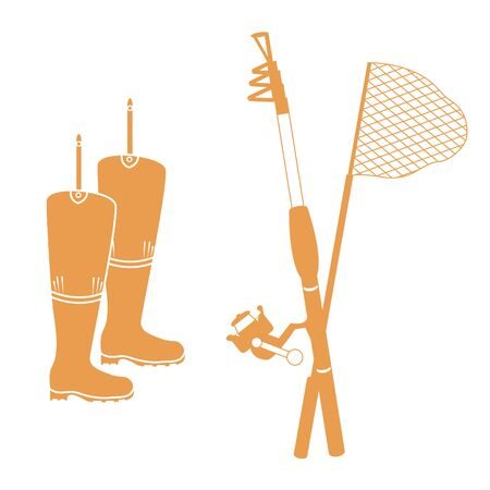 Stylized icon set of different tools for fishing on a white background Illustration