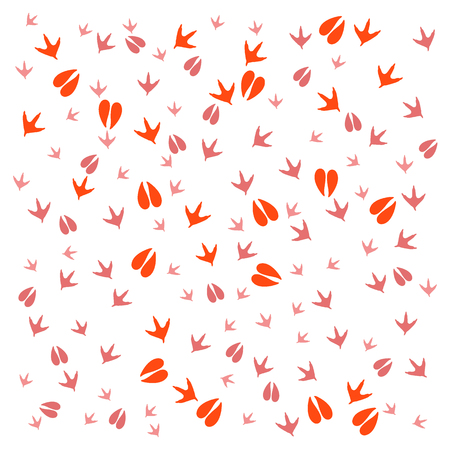 Nice picture of  traces of birds and animals on a white background Illustration