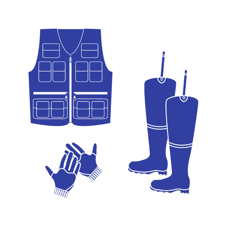 Stylized icon set of a colored vest, boots and gloves on a white background Illustration