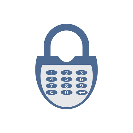 combination: Stylized icon of a colored combination lock on a white background