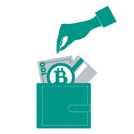 ore: Stylized icon of a colored stretching hands to get a credit card, bitcoin ore money bill into wallet on a white background