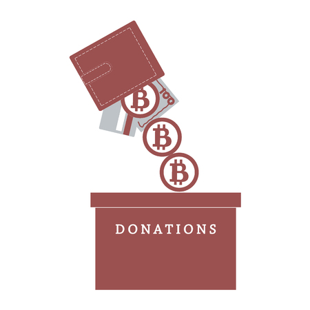 fundraiser: Stylized icon calling to make a donation. From wallet with the card, bill and bitcoin spilling bitcoins in the donation box on a white background