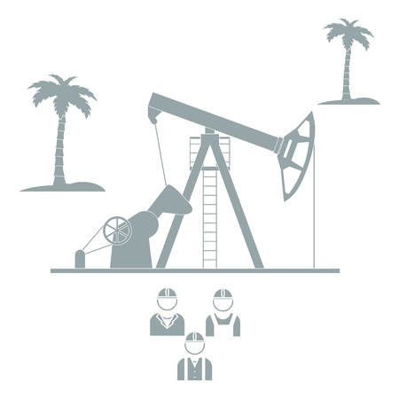 palm oil: Stylized icon of the equipment for oil production on a light background with palm trees and three silhouette of oil worker