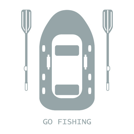 Stylized icon of a colored inflatable boat with oars for fishing on a white background Illustration