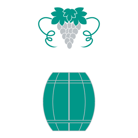 Stylized icon of a colored barrel of wine and a bunch of grapes on a white background Illustration