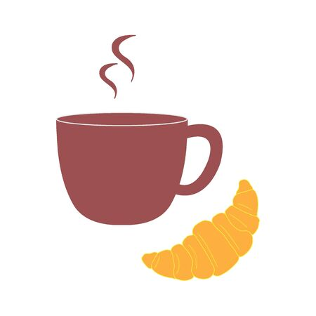 Stylized icon of a colored cup and croissant on a white background