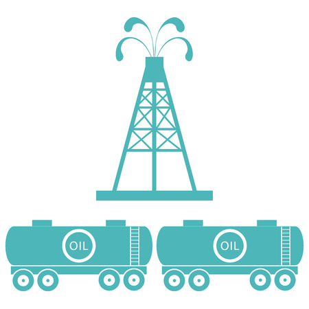 Stylized icon of the equipment for oil production and tanks with oil on a white background
