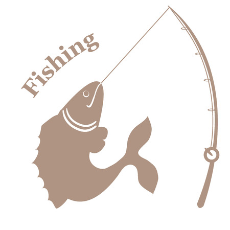 big fish: Stylized icon with big fish caught the rod and an inscription: Fishing on a white background Illustration