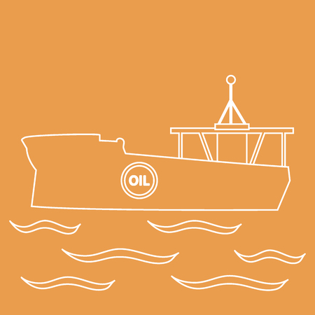 Stylized icon of the silhouette tanker of oil floating on waves on a colored background
