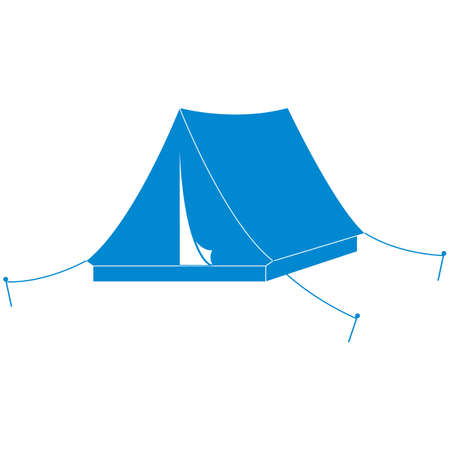 Stylized icon of a colored tourist tent on a white background Illustration