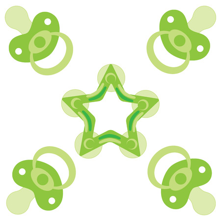 Cute picture of a baby pacifiers and teething ring on a white background