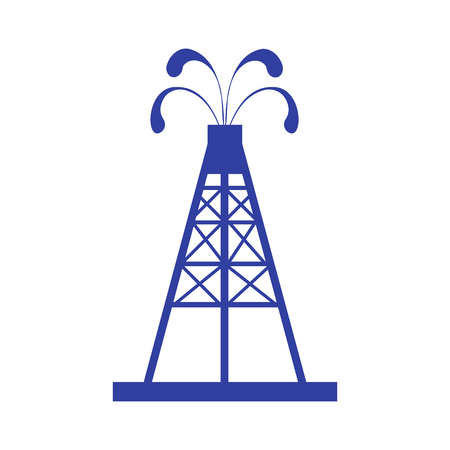 oilfield: Stylized icon of the oil rig with fountains spurting up oil with oil on a white background