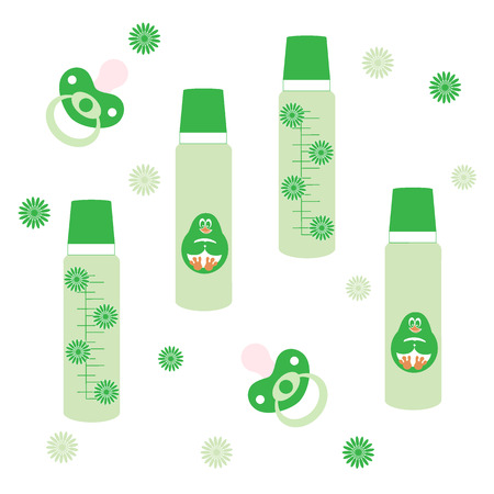 Cute picture of a baby bottle with a cartoon figure and dummy on a white background with flowers Illustration