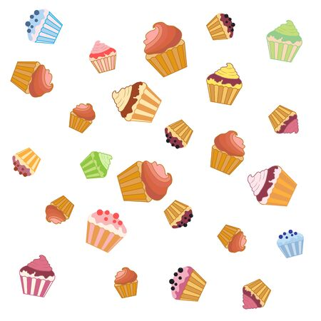 vivacity: Nice pattern with colorful cupcakes on a white background Illustration