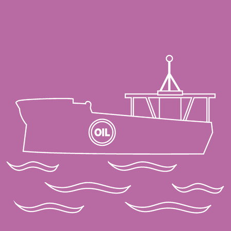 sea tanker ship: Stylized icon of the silhouette tanker of oil floating on waves on a colored background