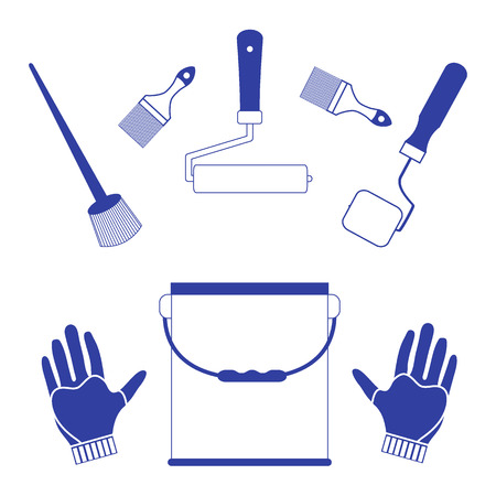 Set a variety of tools and accessories for painting on a white background