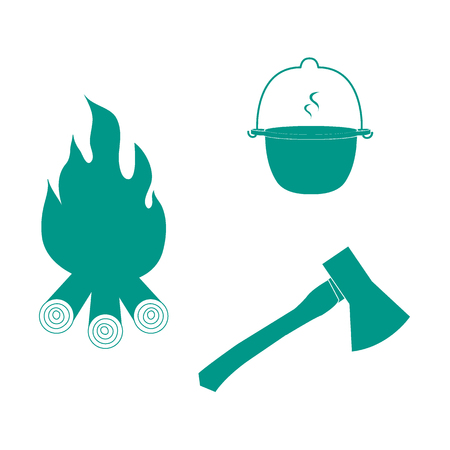 outdoor fire: Stylized icon tourism and outdoor recreation: colored pot, fire and ax on a white background